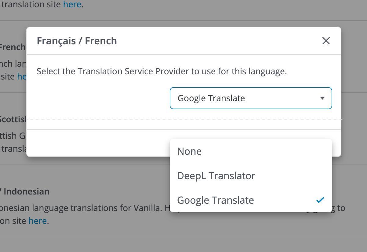 Per Language Service Provider Setting