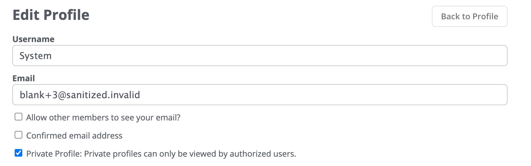 New Private Profile setting on user profiles